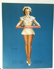 Original Old, 1940's Elvgren Pin Up Girl, DOCTOR'S ORDERS