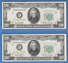 1950  FEDERAL RESERVE NOTE TWENTY DOLLAR BILLS,$20.00,2 CONSECUTIVE UNC NOTES