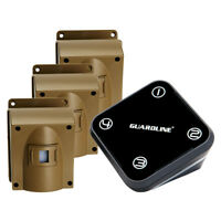 GUARDLINE Wireless Driveway Alarm System w/ Three Motion Alert Sensors Bundle
