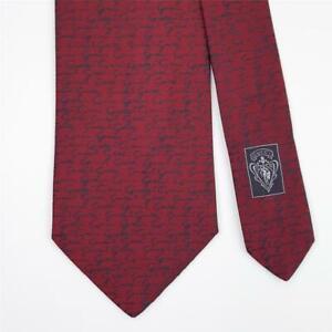 GUCCI TIE Hand Script on Red Classic Woven Silk Necktie