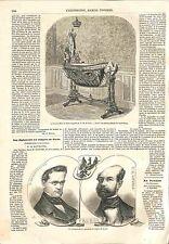 Berceau Prince Louis-Napoléon Ville de Paris/Epinal Vosges/ Algérie GRAVURE 1856