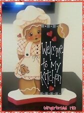 HP Hand Painted Gingerbread,  white Dress, Girl, Shelf Sitter, Gingerbread Decor