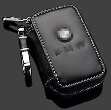 For BMW Car Key Bag Auto Leather Key Wallet Keychain Chain Holder Zipper Black