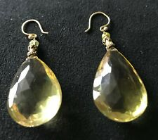CITRINE PENDANT EARRINGS, 100 CARAT WITH INTRICATE GOLD ATTACHMENTS