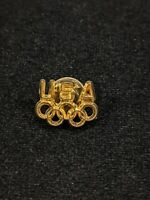 Vintage USA Gold Tone Olympic Rings Pin 14536