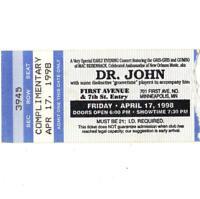 DR JOHN Concert Ticket Stub FIRST AVENUE 4/17/98 MINNEAPOLIS MN NIGHT TRIPPER