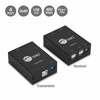 SIIG 4-Port USB 2.0 Extender Over CAT5e/6 Cable 264ft(80m) - Plug and Play