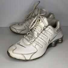 NIKE Shox NZ Women Size 8.5 Running Walking Shoe White Silver leather 366571-111