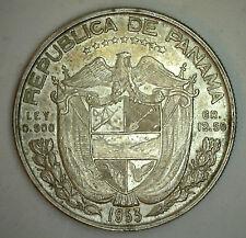 1953 Silver Panama Half Balboa Cinquenta Centesimos Coin XF