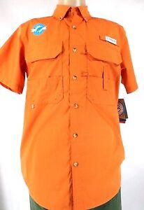 Men Short Sleeve Button Up Fish Gear Vented Wicking Shirt Mag Shield UPF 20