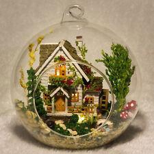 DIY Glass Dollhouse Mini Forest House Crystal Ball Model Kit Doll House Lights
