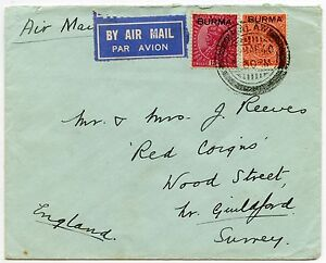 BURMA KALAW 1940 INDIA INTERIM OVERPRINTS AIRMAIL to GUILDFORD SURREY
