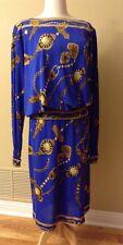 Vintage Leonard Blouse Skirt Dress. Jersey Mikado Silk. Vibrant Blue. Italy