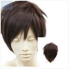 Hot Women/Men Attack on Titan Eren Jaeger Brown Short Cosplay Costume Wigs+Cap