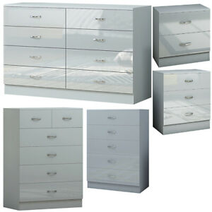 2/3/5/6/8 Drawer Chest of Drawers/ Bedside Cabinet - Modern Grey Glossy Bedroom