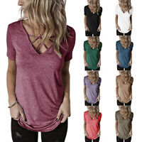 Women Short Sleeve Criss Cross V Neck Solid T Shirt Casual Loose Blouse Tank Top