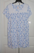 Croft and Barrow 100% Cotton Ss White Eyelet Lace Blue Flower Nightgown 3X Nwt