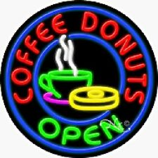 Coffee/Donuts - Open Handcrafted Real Glasstube Neon Sign