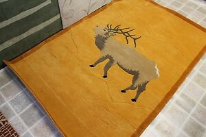 RT124 MOUNTAIN SPECIAL ELK HAND CRAFTED WOOLEN TIBETAN RUG 4' X 6' MADE IN NEPAL