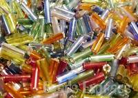15g 450pc+ Silver Lined Glass Bugle Seed Beads 7mm- Assorted Mix Colours