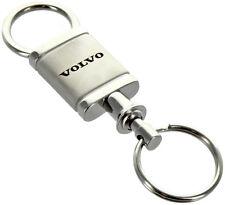 Volvo Satin Chrome Valet Authentic Logo Key Ring Fob Keychain Lanyard