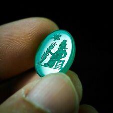 Ancient Jade Intaglio Signet Hera goddess Holding Wheat Olympus Queen Greek Bead