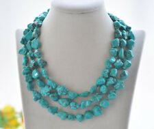 """S2355 50"""" 12mm Natural Green Baroque Turquoise Necklace"""