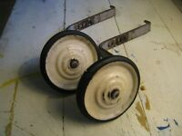 "vintage 1950s bicycle bike training wheels heavy rubber steel 4.5"" w/ mounting"