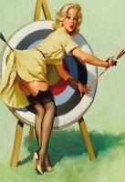 Tiro con L'Arco Pin Up Girl Segno Metallo Insegna ad Arco Stagno Firmare 20 x 30