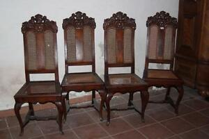 Stuhl, 4 Stück Barock, Hochlehne, Nussbaum Eiche, selten * 2117