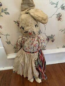 "large 25"" tall antique dressed rabbit bunny 1940s Stuffed Standing Plush"