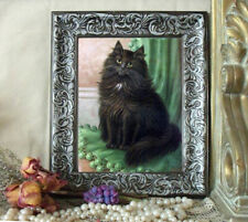After Christmas Sale Long Hair Black Cat Art Print Sanborn Antique Style Framed