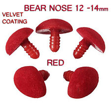 Bear Safety Nose + Backs, Soft Toy Making Supplies 12 x 14 mm Red Velvet 5 pack