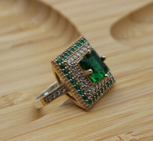 Emerald Ladies Ring 925k Sterling Silver Ottoman Women's Ring Gemstone Size 6-12