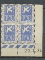 N°294, 1F.50 bloc de 4 daté 1934, c/600, Neuf** Superbe X1138
