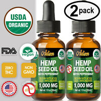 Mint Hemp Oil Drops for Pain Relief, Stress, Sleep (PURE & ORGANIC) - 1000 mg