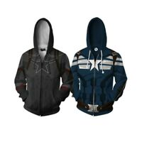 Captain America Casual Zipper Hoodie Cosplay Hooded Sweatshirt Jacket Zip Coat