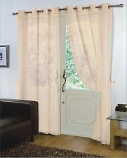 Pair of Cream 59'' x 54'' Voile Net Eyelet / Ring Top Curtain Panel + Tie Back