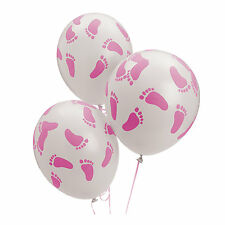 24 Baby Shower Decorations Latex BALLOONS PINK GIRL BABY FOOTPRINT Feet 11 inch