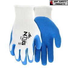 Mcr Safety Flex Tuff Rubber Palm Coated Work Gloves Blue General Purpose 12pr
