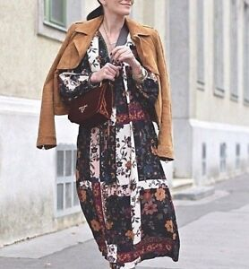 ZARA PATCHWORK MAXIKLEID BLUMENPRINT SAMT FLORAL PRINTED LONG VELVET DRESS S L
