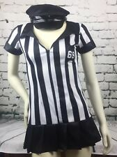 Leg Avenue Size S/M Black White Stripe Ref Style Halloween Dress & Hat Costume