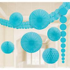 9 X Turquouise pendant Papier Décoration de Fête Aqua Blue Ventilateurs