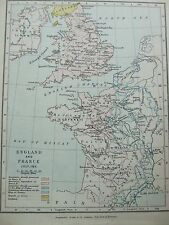ANTIQUE PRINT MAP DATED 1905 ENGLAND AND FRANCE JULY 1185 COLOUR MAP OF WORLD