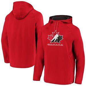 Men's Red Team Hockey Canada Primary Logo Pullover Hooded Sweatshirt Hoodie IIHF