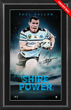 CRONULLA SHARKS 2016 NRL PREMIERS PAUL GALLEN SIGNED FRAMED LIMITED VERTIRAMIC