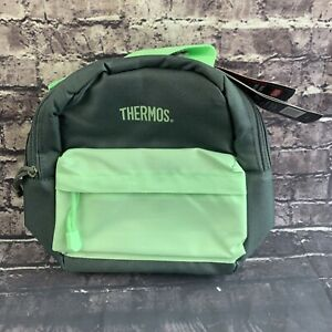 Thermos Brand Insulated Lunch Kit Bag Backpack IsoTec Premium No BPA Green Gray