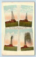 Tulsa, OK - SHOOTING OIL WELL DRILLING DERRICK GUSHER - RARE c1914 POSTCARD - J2
