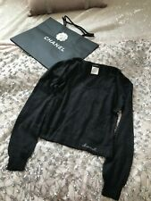 CHANEL 100% CASHMERE DARK GREY JUMPER SIZE 40 made in Italy + Chanel gift bag