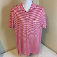 Ralph Lauren RLX Golf Polo Shirt Mens Red Stripes Piclewood Golf Club WV Medium